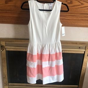 White and pink midi dress